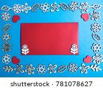 wooden floral frame with blank... | Shutterstock . vector #781078627