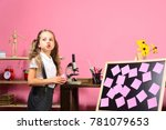 Girl Holds Pink Notepapers In...