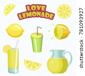 set of stickers for lemonade... | Shutterstock .eps vector #781093927