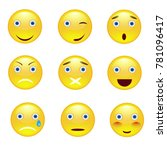 emotion smile icons set on... | Shutterstock .eps vector #781096417