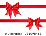 set of big red silk bows with... | Shutterstock . vector #781098463