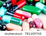 medicine pills or capsules on... | Shutterstock . vector #781109743