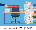 office chair and cardboard... | Shutterstock .eps vector #781110493