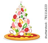 pizza with falling ingredients. ... | Shutterstock .eps vector #781116223