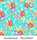 flower pattern with background   Shutterstock . vector #781134307
