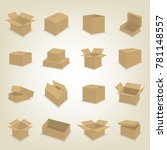 set of cardboard box icons... | Shutterstock . vector #781148557