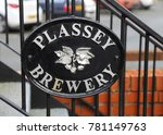 Small photo of Plassey, Denbighshire, Wales, UK. 19 December 2017. Plassey Brewery sign.