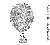 zendoodle design of leo zodiac... | Shutterstock .eps vector #781160497