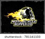burning skull helmet | Shutterstock .eps vector #781161103