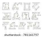 robotic machines for production.... | Shutterstock .eps vector #781161757