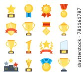 golden cups for winners and... | Shutterstock .eps vector #781161787