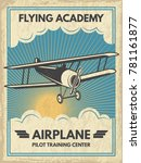 vintage aircaft poster. vector... | Shutterstock .eps vector #781161877
