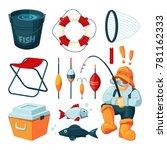 different equipment for fishing.... | Shutterstock .eps vector #781162333