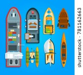 different sea boats and ships.... | Shutterstock .eps vector #781162663
