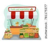local farm fruits and... | Shutterstock .eps vector #781175377