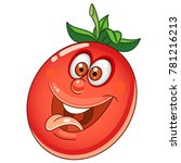 cartoon tomato character. happy ... | Shutterstock .eps vector #781216213
