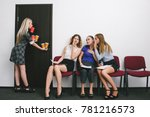 Small photo of secretary office work women gossip concept. flunky conviction. female rivalry.