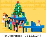 merry christmas and new year in ... | Shutterstock .eps vector #781221247