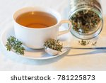 warm herbal tea on a winters day | Shutterstock . vector #781225873