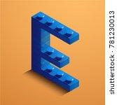 3d isometric letter e of the... | Shutterstock .eps vector #781230013
