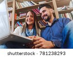 college student couple studying ... | Shutterstock . vector #781238293