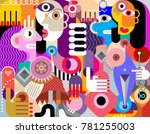 abstract art flat style vector ... | Shutterstock .eps vector #781255003