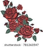 Stock vector red roses vector 781263547