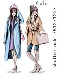 Two Fashion Women. Hand Drawn...