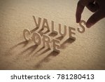 core value wood word on... | Shutterstock . vector #781280413