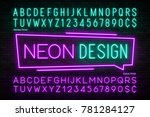 neon light alphabet  realistic... | Shutterstock .eps vector #781284127