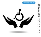 hand helping handicapped icon.... | Shutterstock .eps vector #781287937