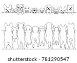 standing small dogs front and... | Shutterstock .eps vector #781290547
