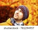 autumn photo of a guy on a... | Shutterstock . vector #781294957