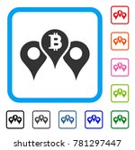 bitcoin map pointers icon. flat ...
