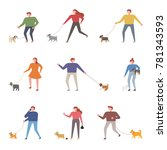 people and dogs walking... | Shutterstock .eps vector #781343593