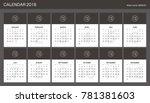 2018 calendar planner design. | Shutterstock .eps vector #781381603