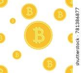 bitcoins falling on white...   Shutterstock .eps vector #781386877
