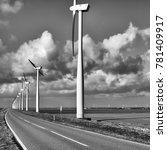 wind turbines in a neat row... | Shutterstock . vector #781409917