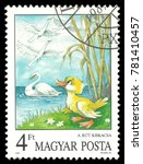Small photo of Hungary - circa 1987: Stamp printed by Hungary, Color edition on topic of Fairy Tales, shows The Ugly Duckling by Andersen, Aesop's Fables, circa 1987