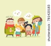 sick children with fever ...   Shutterstock .eps vector #781420183