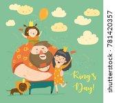 family celebrating kings day | Shutterstock .eps vector #781420357