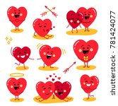 cute set of holiday valentines... | Shutterstock .eps vector #781424077