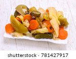 pickled vegetables mix in the...   Shutterstock . vector #781427917