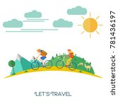 flat design  people ride... | Shutterstock .eps vector #781436197