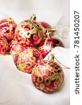 bright red christmas balls on a ...   Shutterstock . vector #781450207