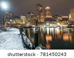 downtown boston  snow covered... | Shutterstock . vector #781450243
