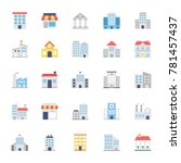 buildings colored icons 1 | Shutterstock .eps vector #781457437