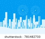 winter cityscape  urban city... | Shutterstock .eps vector #781482733