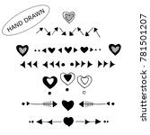 hand drawn arrows  hearts  ... | Shutterstock .eps vector #781501207