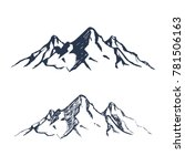 Mountains Set. Hand Drawn Rock...